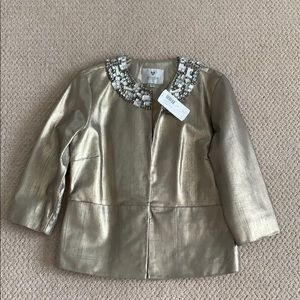 CHICO'S BEJEWELING LEATHER GOLD JACKET